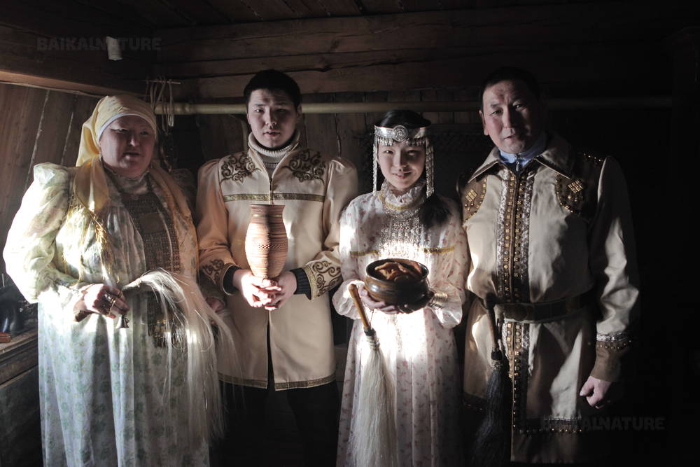 A Yakut Family in Traditionnal Dresses